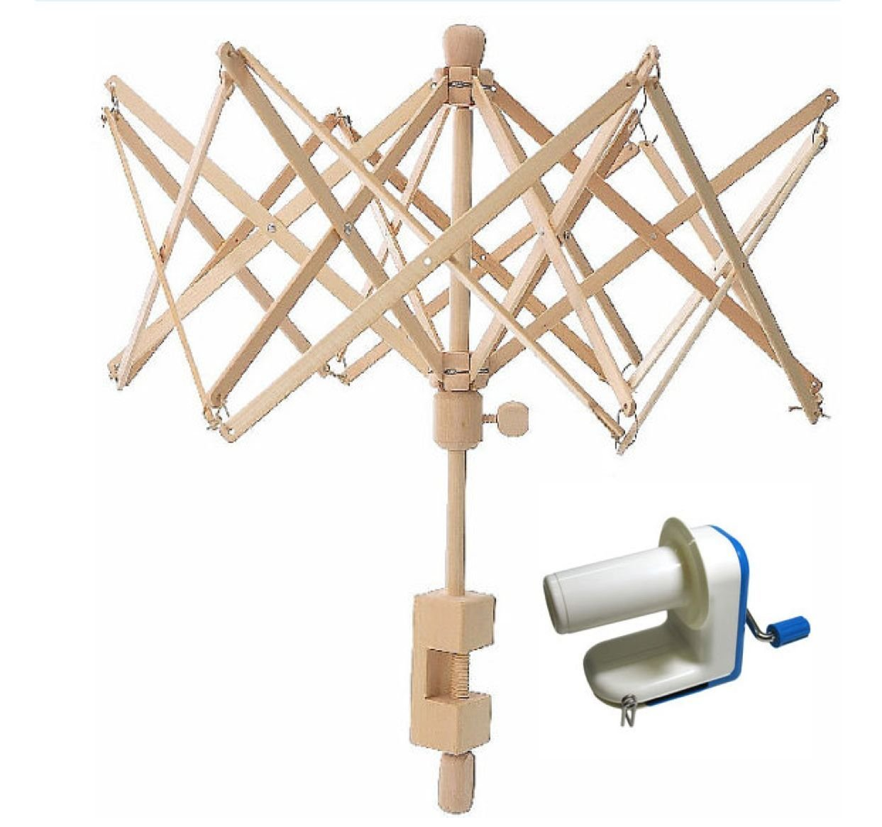 Inline Yarn Ball Winder and Wooden Umbrella Yarn Swift Combo! Sweet Crafty Tools