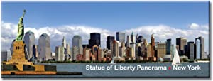 Statue of Liberty & Downtown Skyline Panorama - New York City Photo Souvenir Refrigerator Magnet - NYC Fridge Magnets