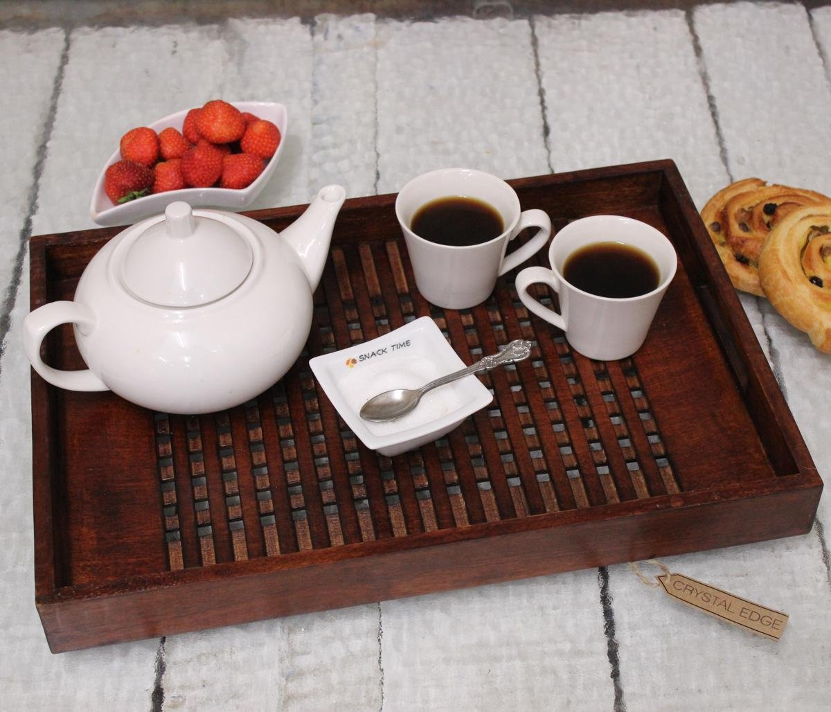 Handmade Wooden Tray Latice Style Base Sheesham Solid Brown Wood - Large by CE Hand Made Items