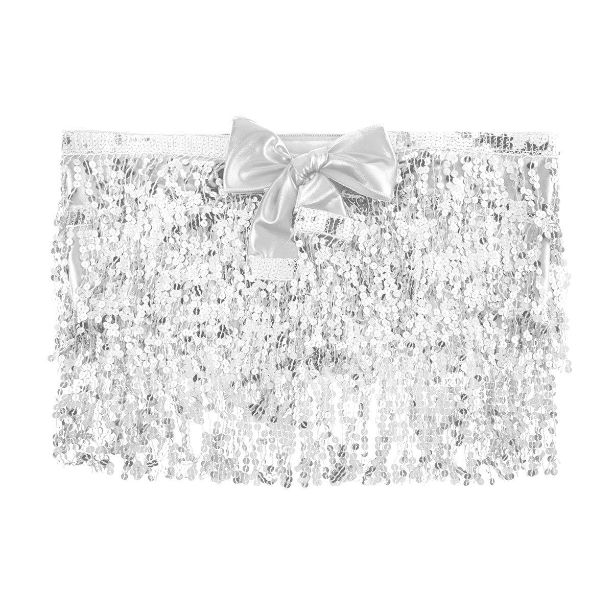 YiZYiF Femme Fille Jupe /à Paillettes Jupe de Danse Jupe de Orientale Frange Jupe de Ballet Latin Jazz Jupe Cancan Ballroom Rumba Salsa Samba Tango Tutu Jupe Soir/ée Bal
