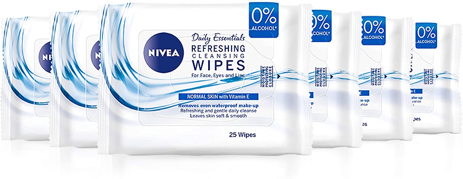 NIVEA 3 in 1 Refreshing Cleansing Wipes Pack of 6 (6 x 25 Wipes),  Refreshing Make-Up Wipes with Vitamin E, Cleansing Face Wipes, Make Up  Remover: Amazon.co.uk: Beauty