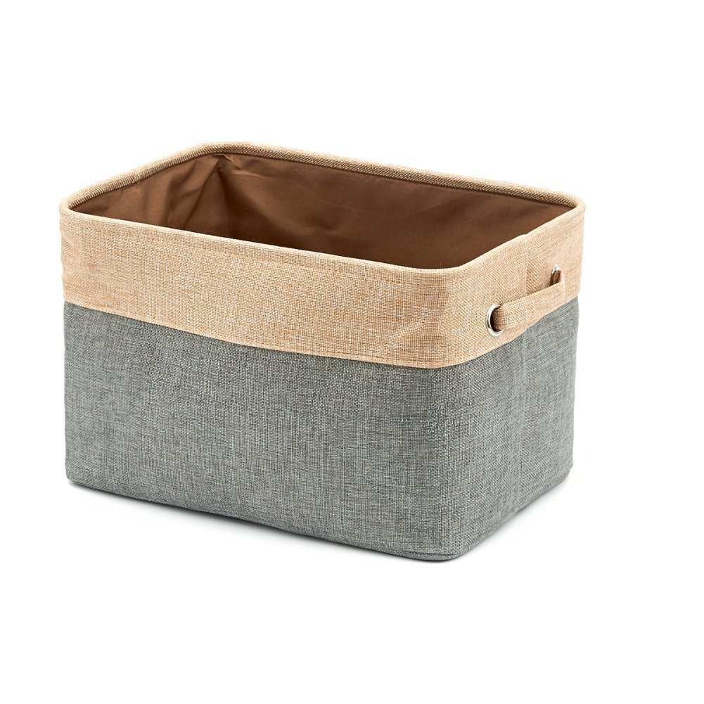Homcomoda Storage Basket Bins Jute Collapsible Cube Storage Container with Handles for Clothes Storage,Toy Organizer,Nurseries,Offices and Everyday Storage Needs(Grey) by Homcomoda