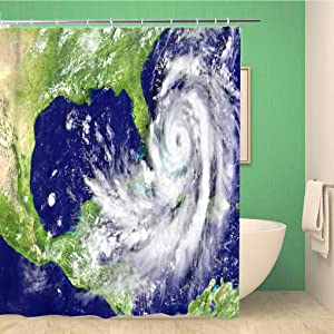 rouihot Bathroom Shower Curtain Disastrous Hurricane Matthew on Florida Coastline 3D of This Polyester Fabric 72x72 inches Waterproof Bath Curtain Set with Hooks