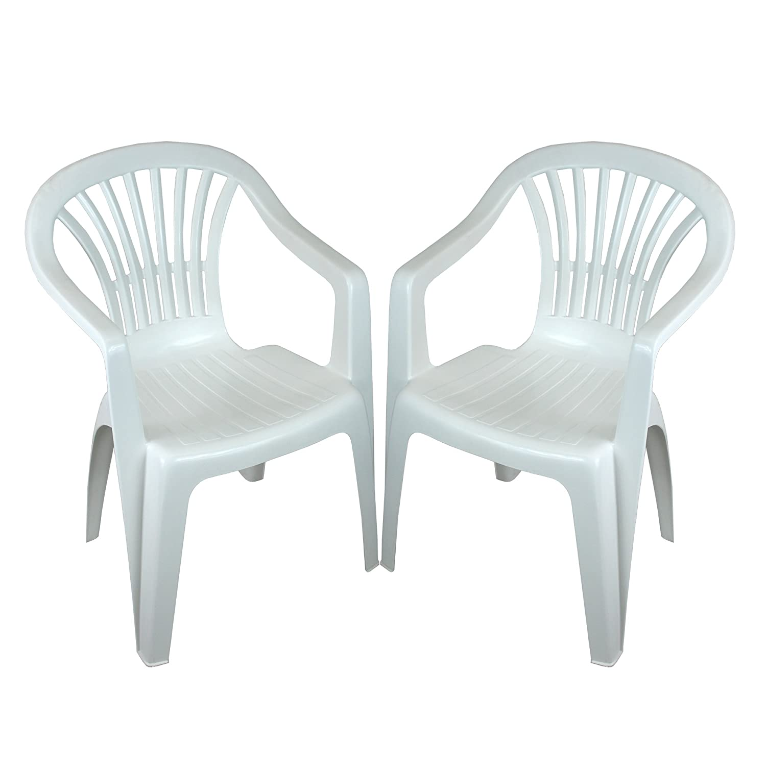 CrazyGadget Plastic Garden Low Back Chair Stackable Patio Outdoor Party Seat Chairs Picnic White Pack of 2 (X2) CrazyGadget®
