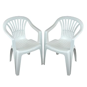 1d1ca9ae60a5 CrazyGadget Plastic Garden Low Back Chair Stackable Patio Outdoor Party  Seat Chairs Picnic White Pack of