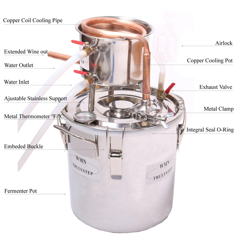 WMN_TRULYSTEP MSC03 Copper Alcohol Moonshine Ethanol Still Spirits Boiler Water Distiller, 20 Litres by WMN_TRULYSTEP (Image #2)