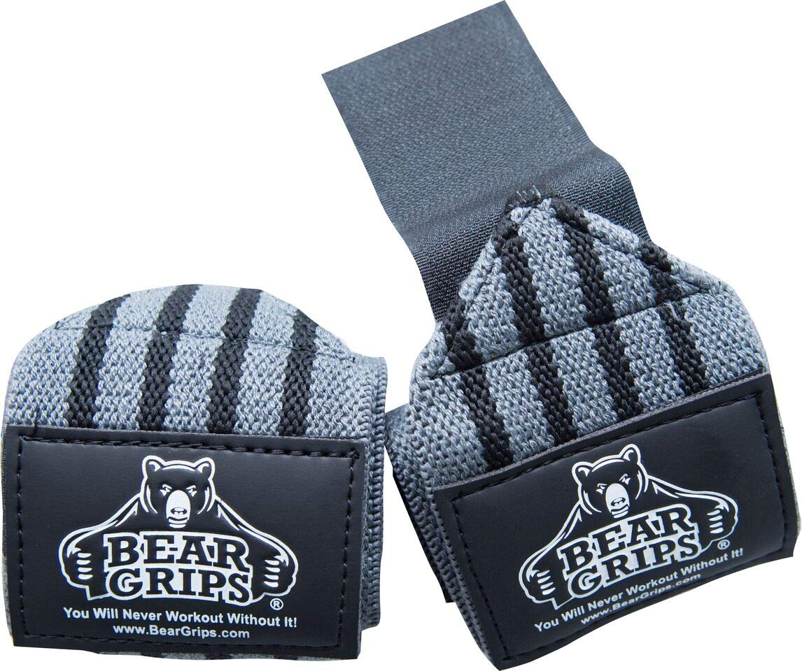 Bear Grips: Gray Series, White Series Wrist-Wraps, Extra-Strength Wrist Support, Wrist Brace for Workouts, wods (Grey, 12'', Sold in Pairs, Two Wrist Straps per Pack)