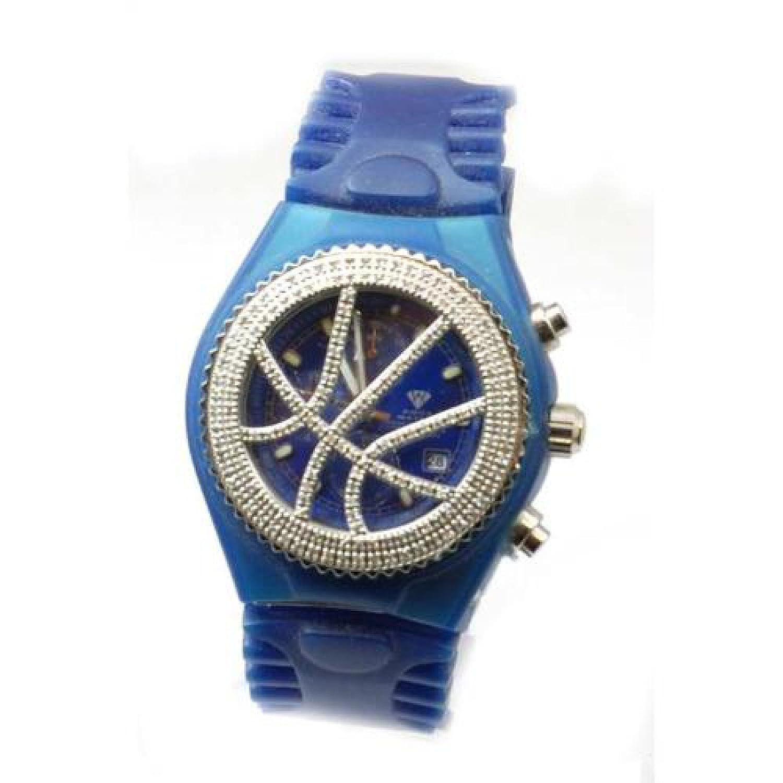 AQUA MASTER - Blaue Uhr mit 1.50 Karat Diamanten