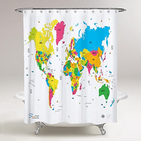 Amazing shower curtains 2018 best quality world map shower curtain amazing shower curtains 2018 best quality world map shower curtain 70x70 gumiabroncs Gallery