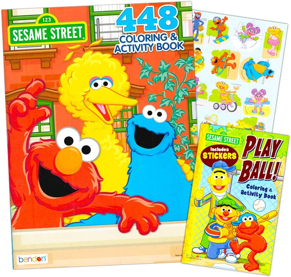 Amazon Com Sesame Street Elmo Coloring Book Super Set Bundle With 2 Sesame Street Books And Stickers Over 600 Pages Featuring Elmo Cookie Monster Big Bird And More Toys Games
