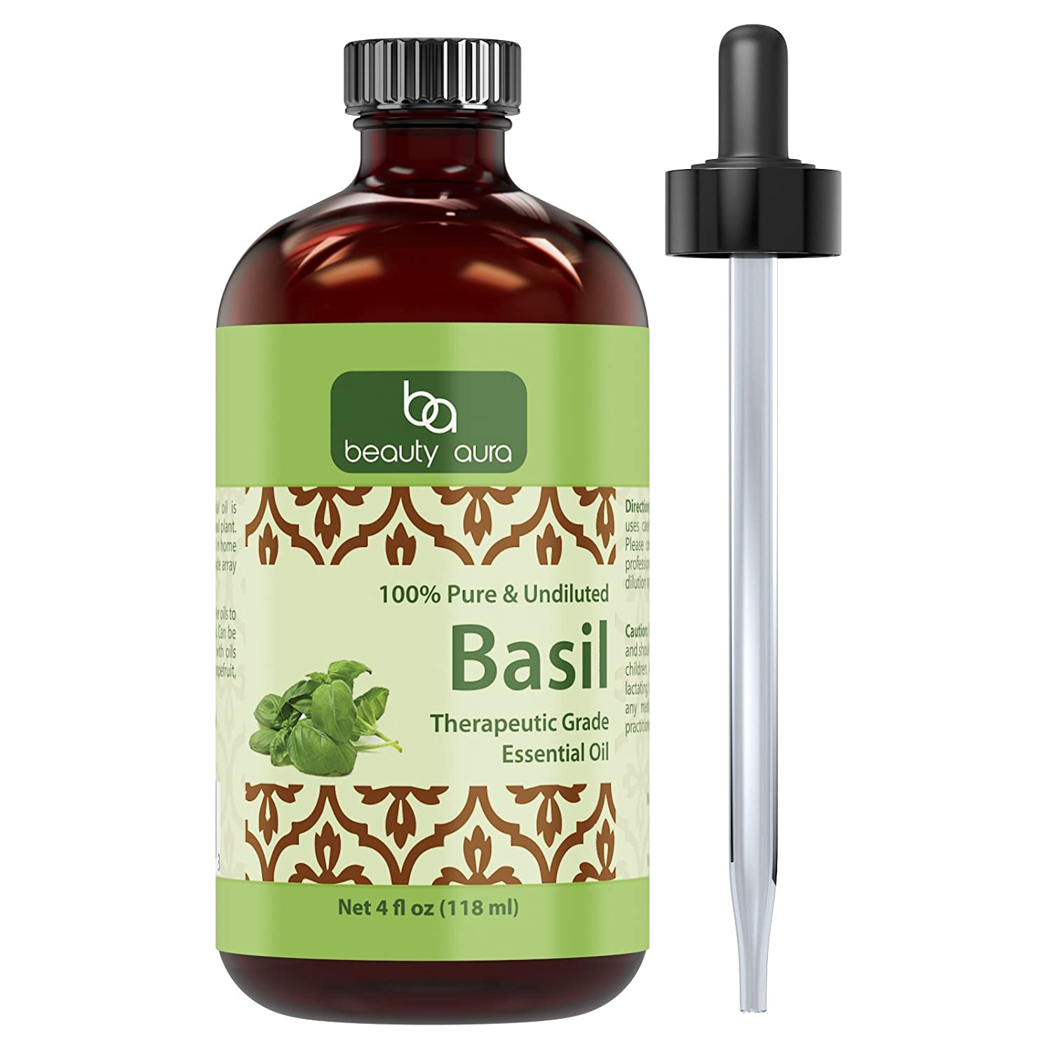Beauty Aura Essential Oil, Basil (4 Oz) - - Pure Therapeutic Grade Oil - Ideal for Aromatherapy