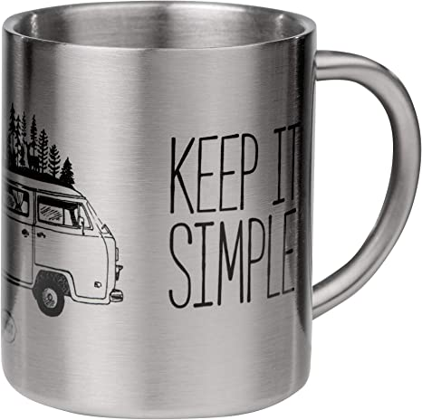 MUGSY.de High Quality Stainless Steel Mug with Camper Design Home is Where You Park IT Ideal for Camping and Outdoor Use with Alcove Caravan Shatterproof and Light Double-Walled Insulation