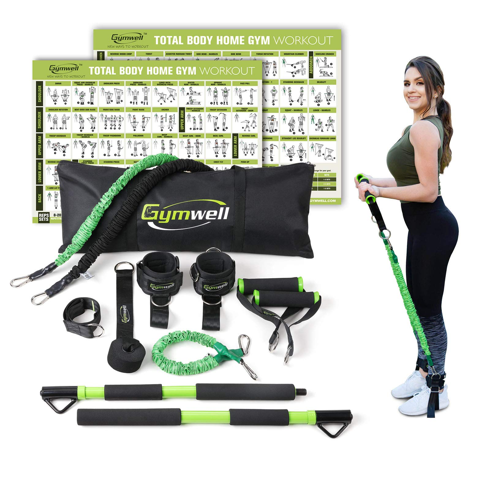Gymwell Portable Resistance Workout Set, Total Body Workout Equipment for Home, Office or Outdoor with 3 Sets of Resistance Bands (Green - Full Gym) by Gymwell (Image #1)