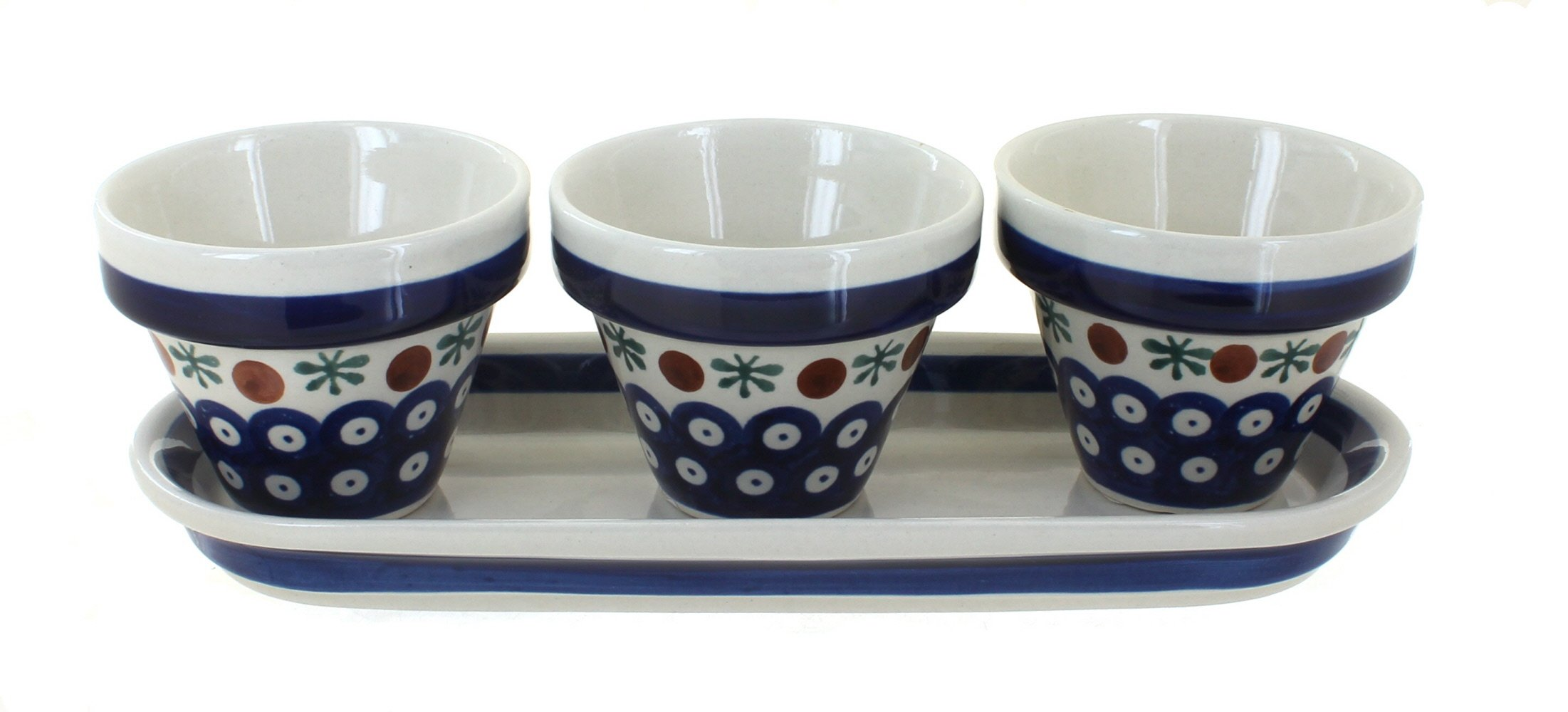 Polish Pottery Nature Flower Pots with Tray