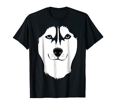 mens siberian husky face shirt funny cute dog halloween costume 2xl black