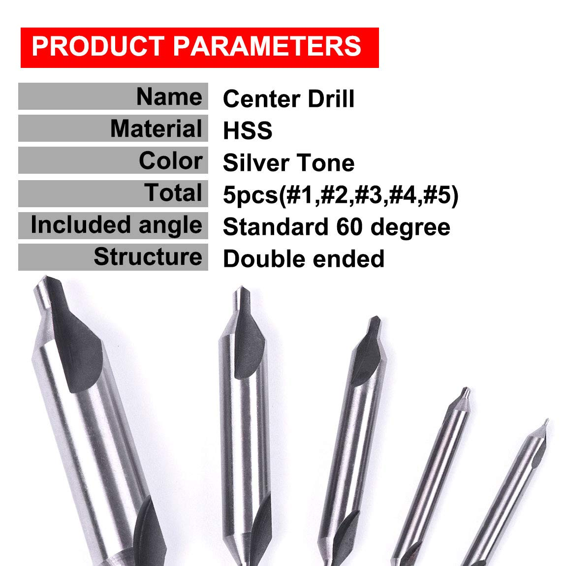 Hot Selling 5 Pcs HSS Center Drills 60 P20 Tool Set Tip Bit Angle Countersinks