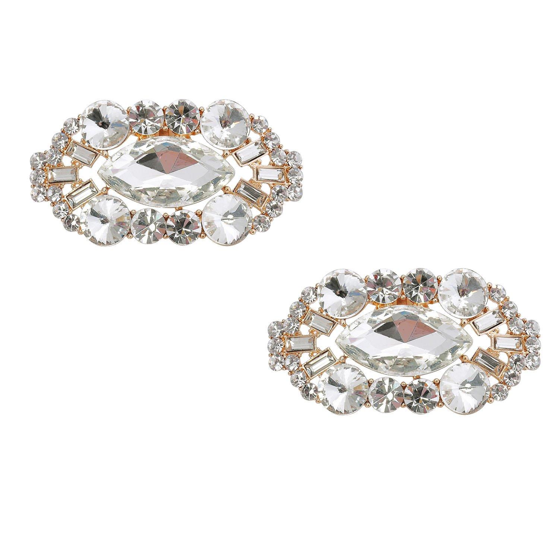 ElegantPark CD 2 Pcs Shoe Clips Big Oval Crystals Rhinestones Wedding Party Decoration Gold