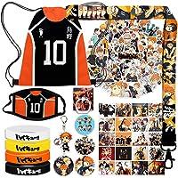 Anime Haikyuu Gift Sets, Including Haikyuu Drawstring Bag Backpack, Haikyuu Stickers, Lomo Cards, Button Pins, Bracelets…