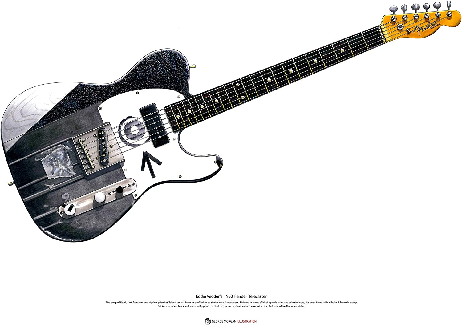 George Morgan Illustration Guitarra Telecaster Fender de Eddie ...