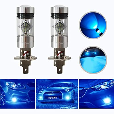 HOCOLO H1 100W Samsung Chip LED Fog Light Lamp Bulbs for DRL Fog Driving Lights 8000K Ice Blue High Power LED Bulbs Car Vehicle Lighting Accessories (Set of 2) (H1 -Ice Blue 100W -Fog/DRL): Automotive