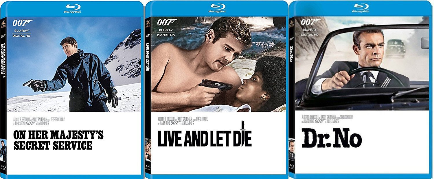 George, Sean & Roger James Bond Collection Dr. No Connery 007 Blu Ray Live & Let Die Moore + On Her Majesties Secret Service Triple film Action Movie Set