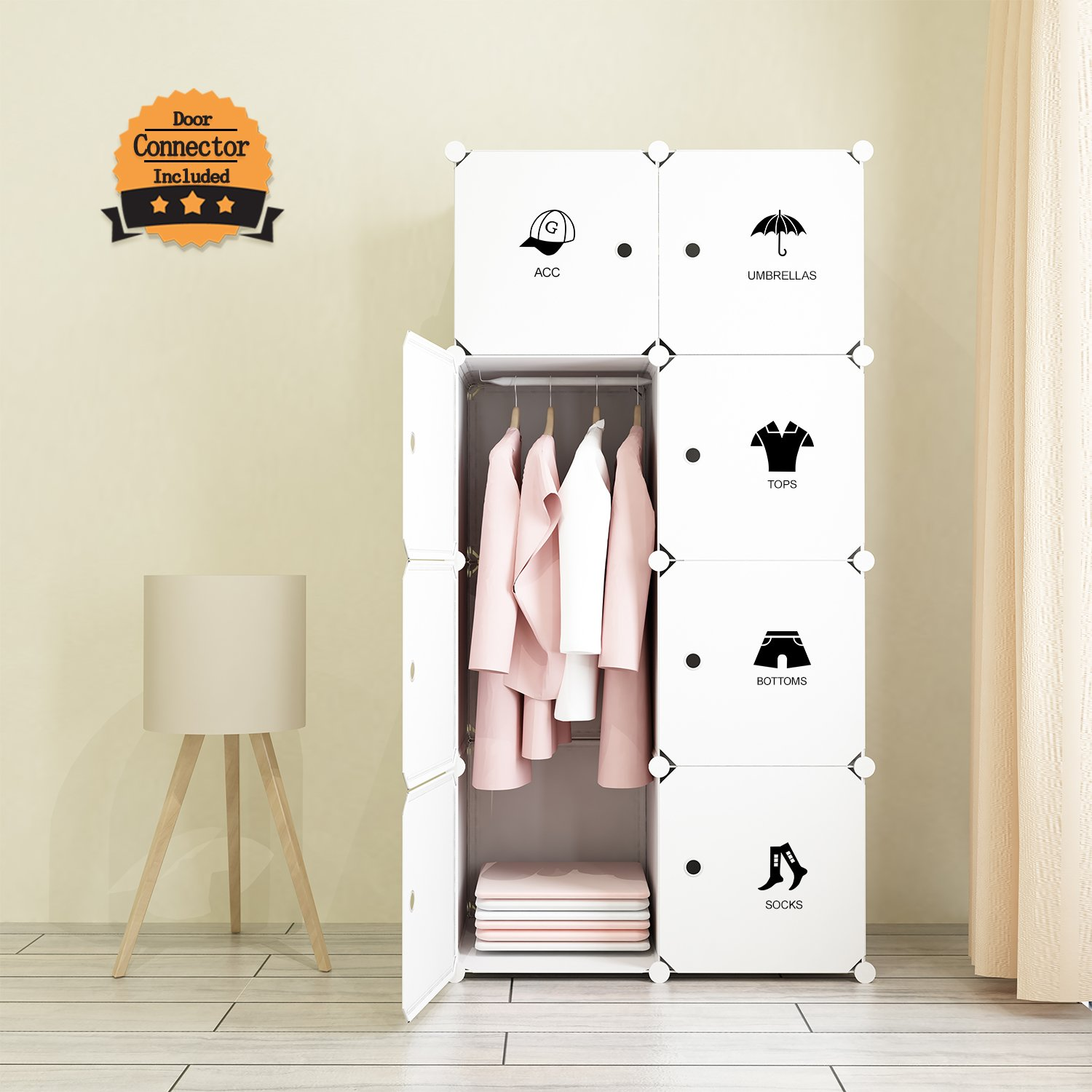 tespo portable clothes closet wardrobe bedroom armoire storage cabinet organizer with doors white8 cube
