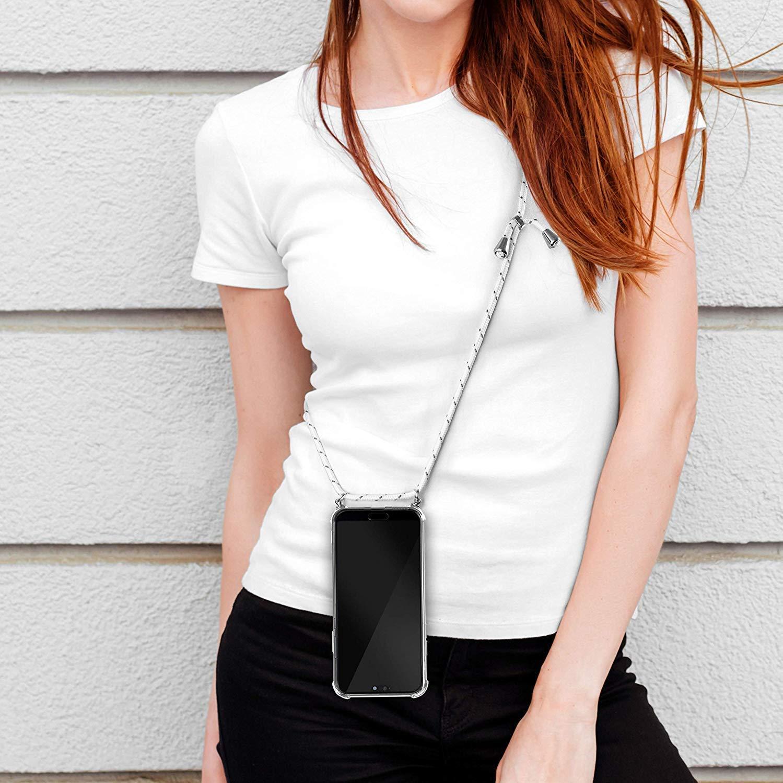 Uposao Compatibile con Samsung Galaxy A10 con Cinturino in Silicone e Custodia Soft Gomma Trasparente AntiGraffio Cover Holder con Smartphone Collana Neck Strap Chain Neck Cord,Bianco Grigio