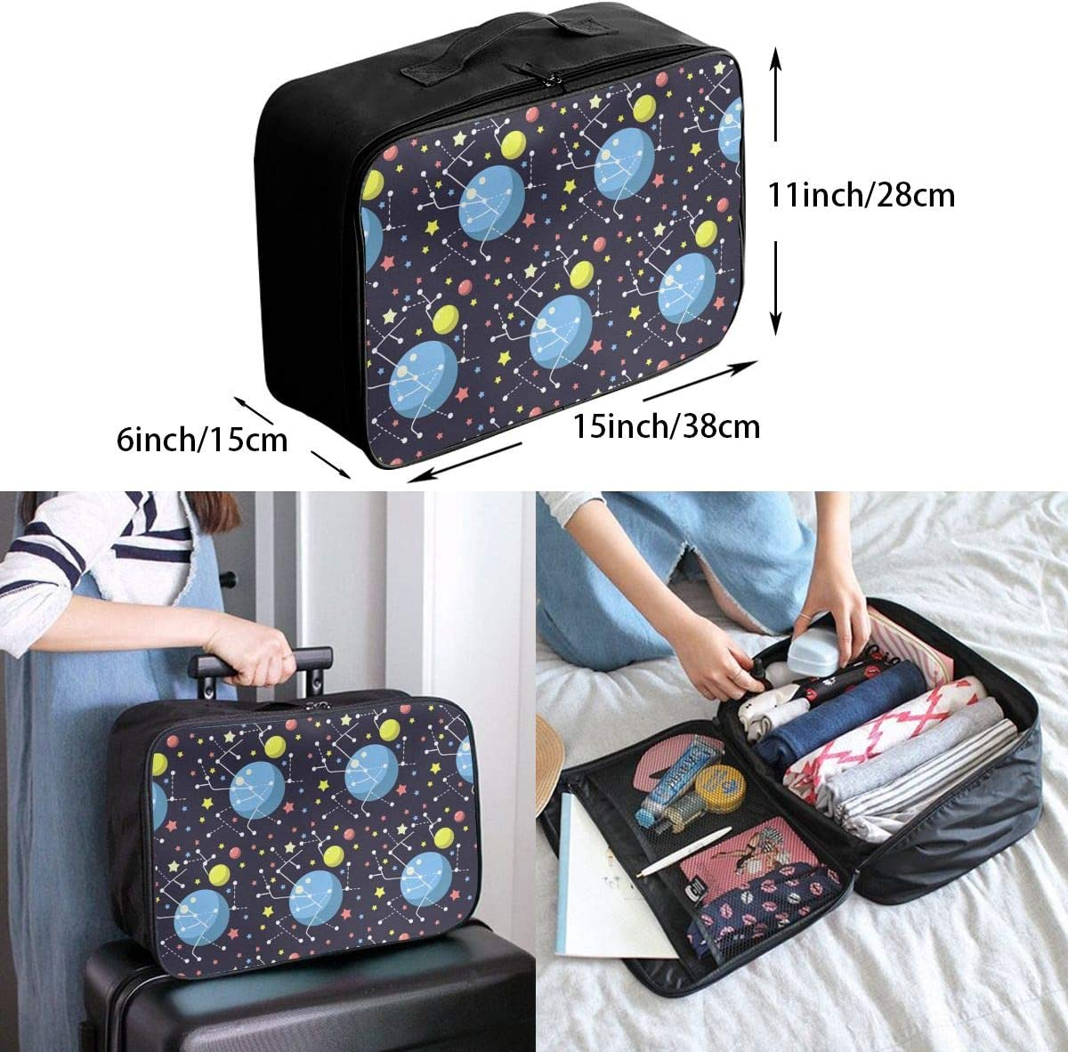 Galaxy Planet Travel Carry-on Luggage Weekender Bag Overnight Tote Flight Duffel In Trolley Handle
