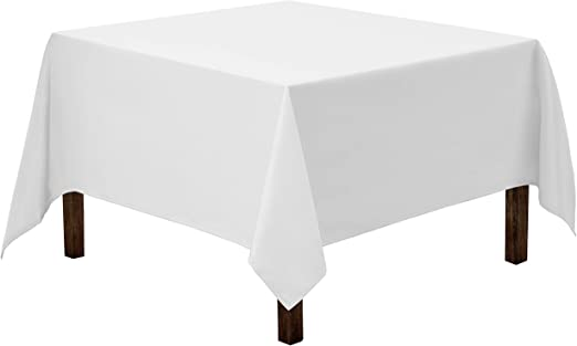 Amazon Com Gee Di Moda Square Tablecloth 85 X 85 Inch White Square Table Cloth For Square Or Round Tables In Washable Polyester Great For Buffet Table Parties Holiday Dinner