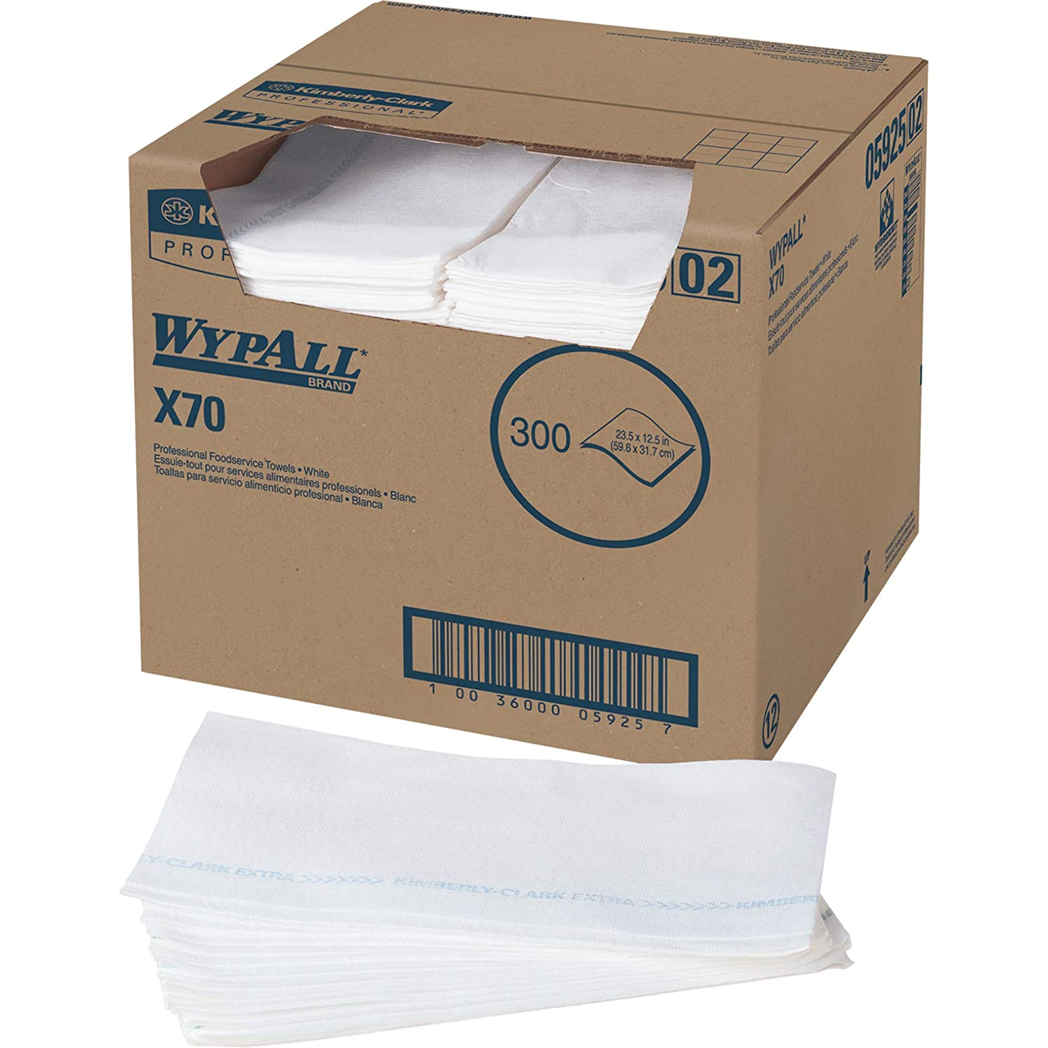 WypAll 05925 X70 Wipers, Kimfresh Antimicrobial, 12 1/2 x 23 1/2, White (Box of 300)