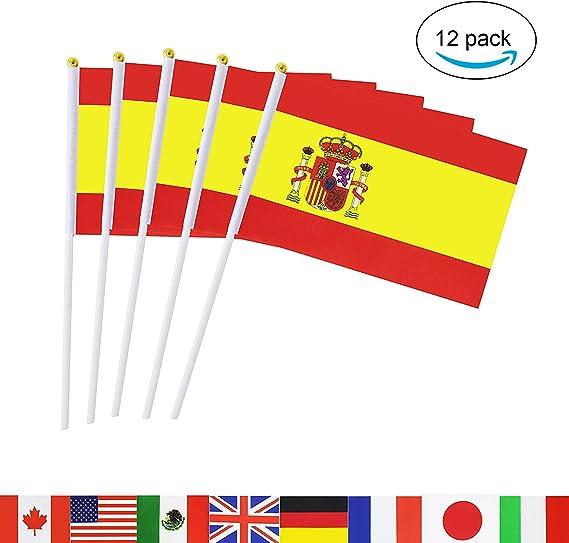 12 Banderas de España con Mástil. Loretta, bandera española 45 x 32 cm. Pack 12 unidades banderines España: Amazon.es: Deportes y aire libre