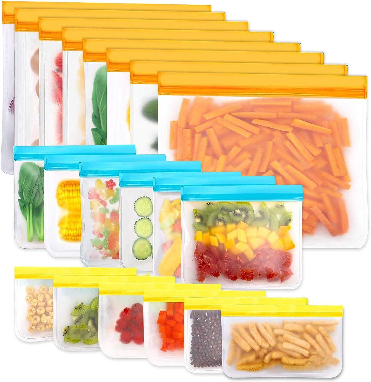 Reusable Storage Bags, 20 Pack BPA Free PEVA Resuable Freezer Bags, Reusable Gallon Bags, Reusable Sandwish Bags, Silicone Food Bags