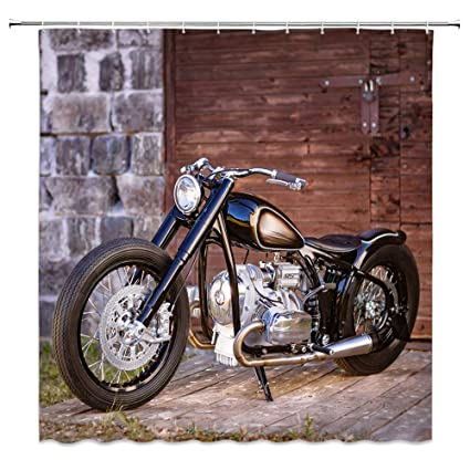 Motorcycle Shower Curtain Decor Black Stone Brick Wall Wooden Door And Floor 70