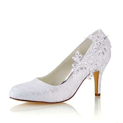 bb4e8867b12 Emily Bridal Wedding Shoes Women s Silk Like Satin Stiletto Heel Pumps with  Stitching Lace Flower Crystal Pearl  Amazon.co.uk  Shoes   Bags
