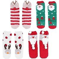 KESYOO 4 Pairs Cozy Fuzzy Slipper Socks Christmas Fluffy Socks Winter Warm Striped Socks Crew Socks Home Slipper Sock