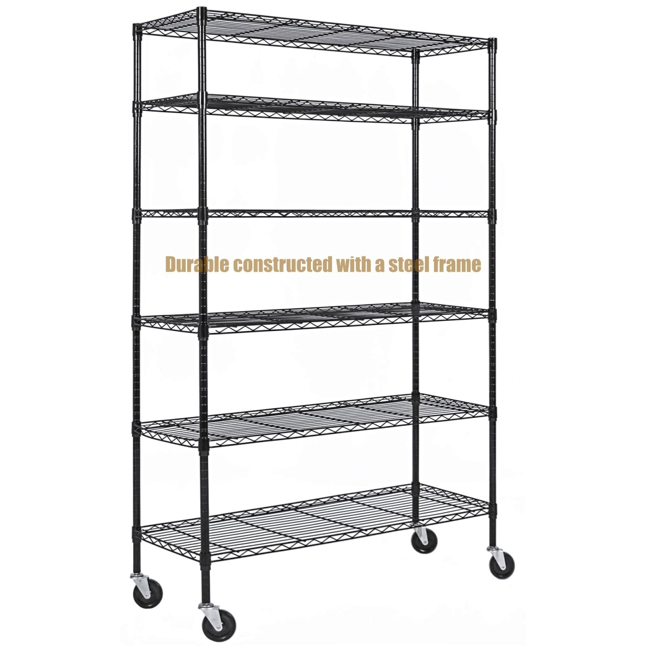 Durable Constructed 6-Tier Steel Shelving Storage Organizer Adjustable With Castor Wheels - Black Finish #1145