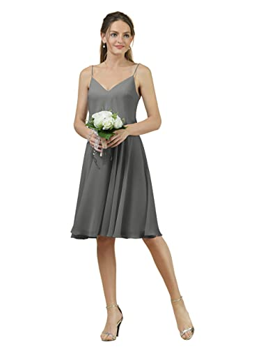 Alicepub Short V-neck Bridesmaid Dress Chiffon Spaghetti Evening Party Prom Gown