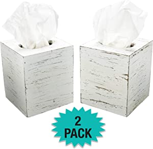 Excello Global Products Rustic White Barnwood Tissue Box Cover: Tissue Cube Box Includes Slide-Out Bottom Panel. Perfect for Farmhouse Bathroom Decor (Pack of 2)