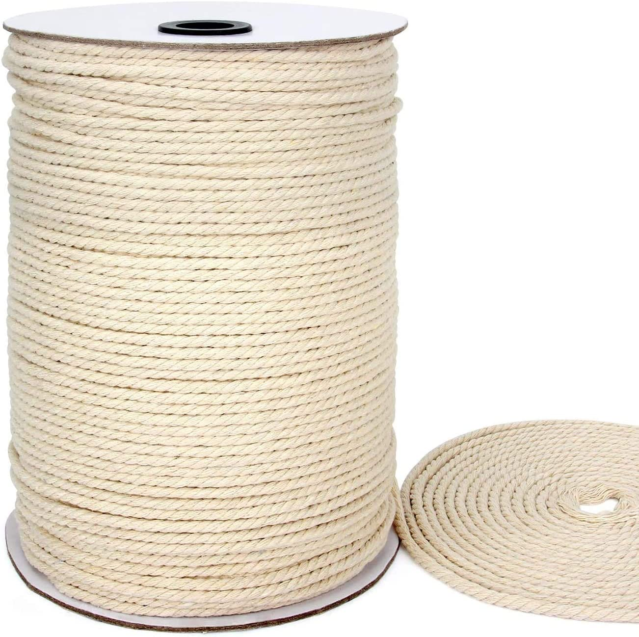 Blisstime Macrame Cord 4mm X 328Yards |Natural Cotton Macrame Rope|3 Strand Twisted Cotton Cord | Soft Undyed Cotton Rope for Wall Hangings, Plant Hangers, Crafts, Knitting, Decorative Projects