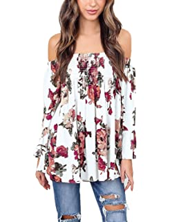 72cae1806764ab BB KK Womens Floral Off Shoulder Blouse Casual Shirt Bell Sleeves Cute Crop  Top S-3XL