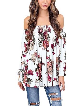 d3b4287205b86d BB KK Womens Floral Off Shoulder Blouse Casual Shirt Bell Sleeves ...