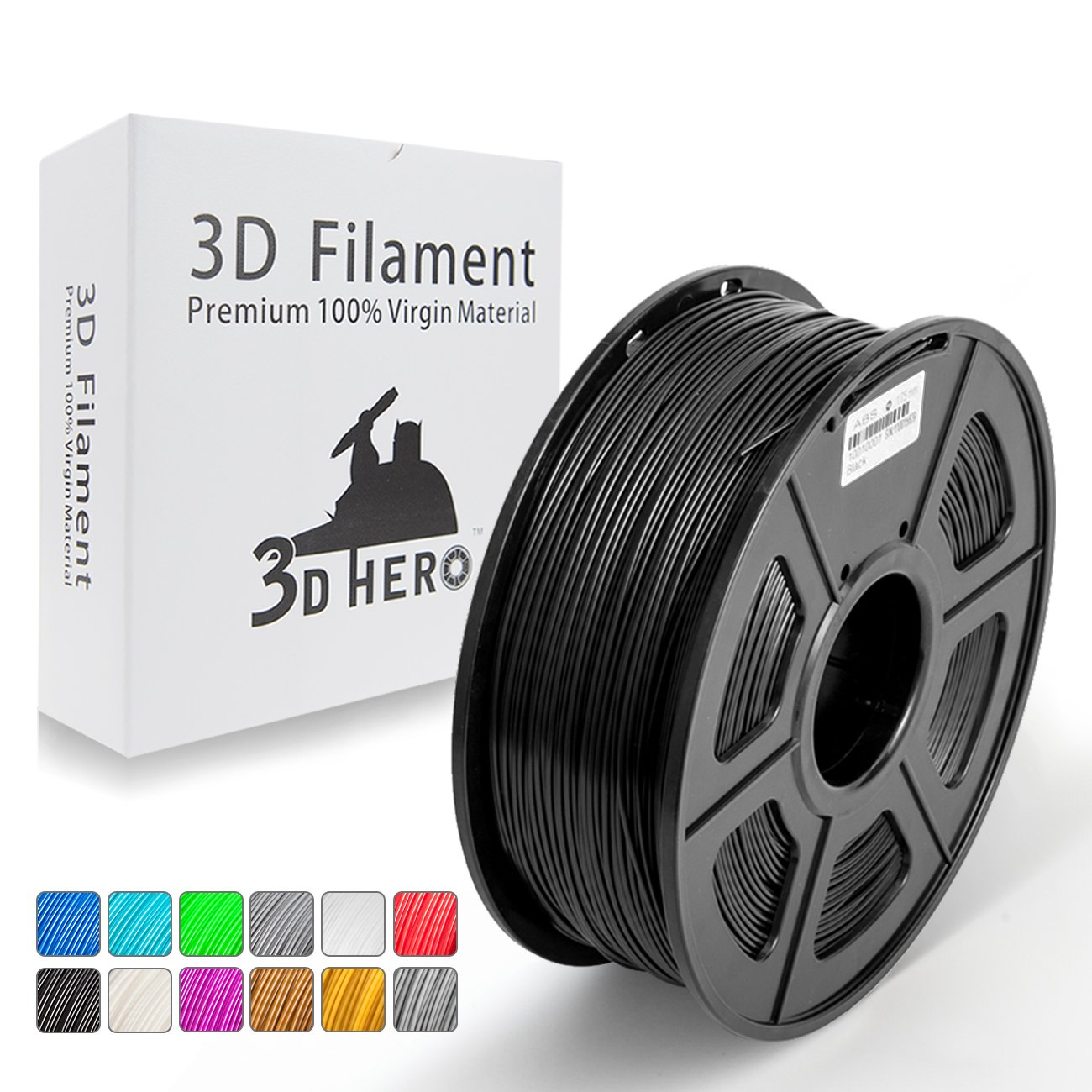 Solid Black ABS 3D Printer Filament 1.75 mm 1kg Spool (2.2lbs), Dimensional Accuracy +/- 0.02 mm Black,NO Clogging