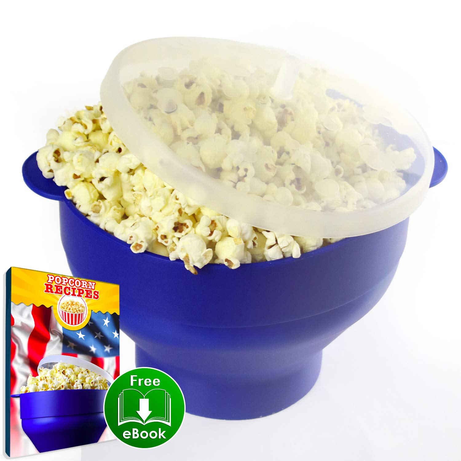 Domisia - Microwave Popcorn Popper - Collapsible Microwave Popcorn Maker for Home - BPA Free Popcorn Maker - Blue - Collapsible Bowl with Handles and Lid - Healthy Choice - Recipe E-Book Included by Domisia