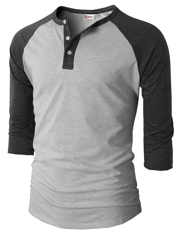 【H2H】ベーシック メンズ カジュアル ファッション オシャレ カラー ヘンリーネック 七分袖 ティーシャツ CMTTS0174 B01E8NOAFA US L (Asia XL) CMTTS0174-CHARCOAL CMTTS0174-CHARCOAL US L (Asia XL)