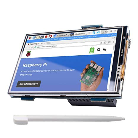 Miuzei Raspberry Pi 3 b+ Screen, 3 5 Inch Touch Screen Resolution (480 320  to 1920 1080) for Raspberry Pi 3 Model B+, 3B, 2B with Touch Pen MP-3 5