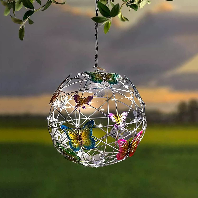Solar Lighted Hanging Mesh Orb with Colorful Butterflies, Roaming Light Solar Garden Hanging Lighted Ball, Garden Pendant Light Decor Outdoor Yard Ornament (#01)