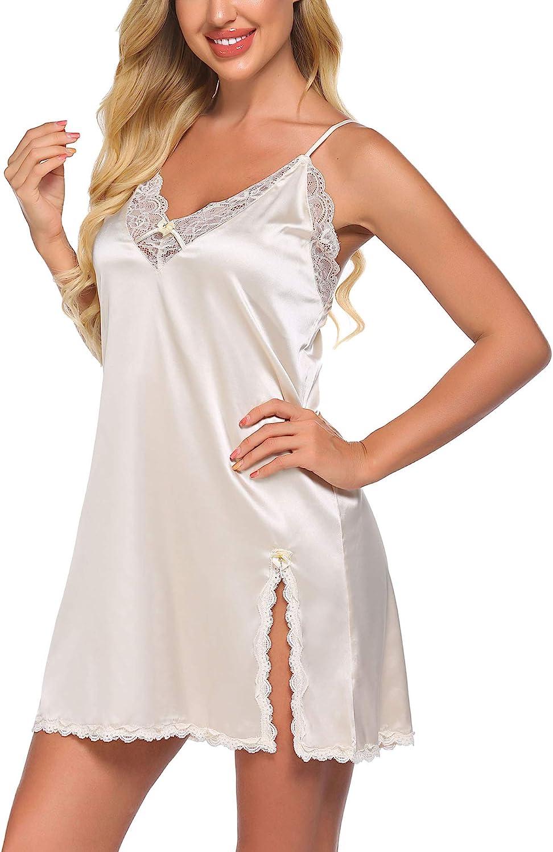 Ekouaer Womens Sling Printing Sleepwear Chemises V-Neck Full Slip Babydoll Nightgown