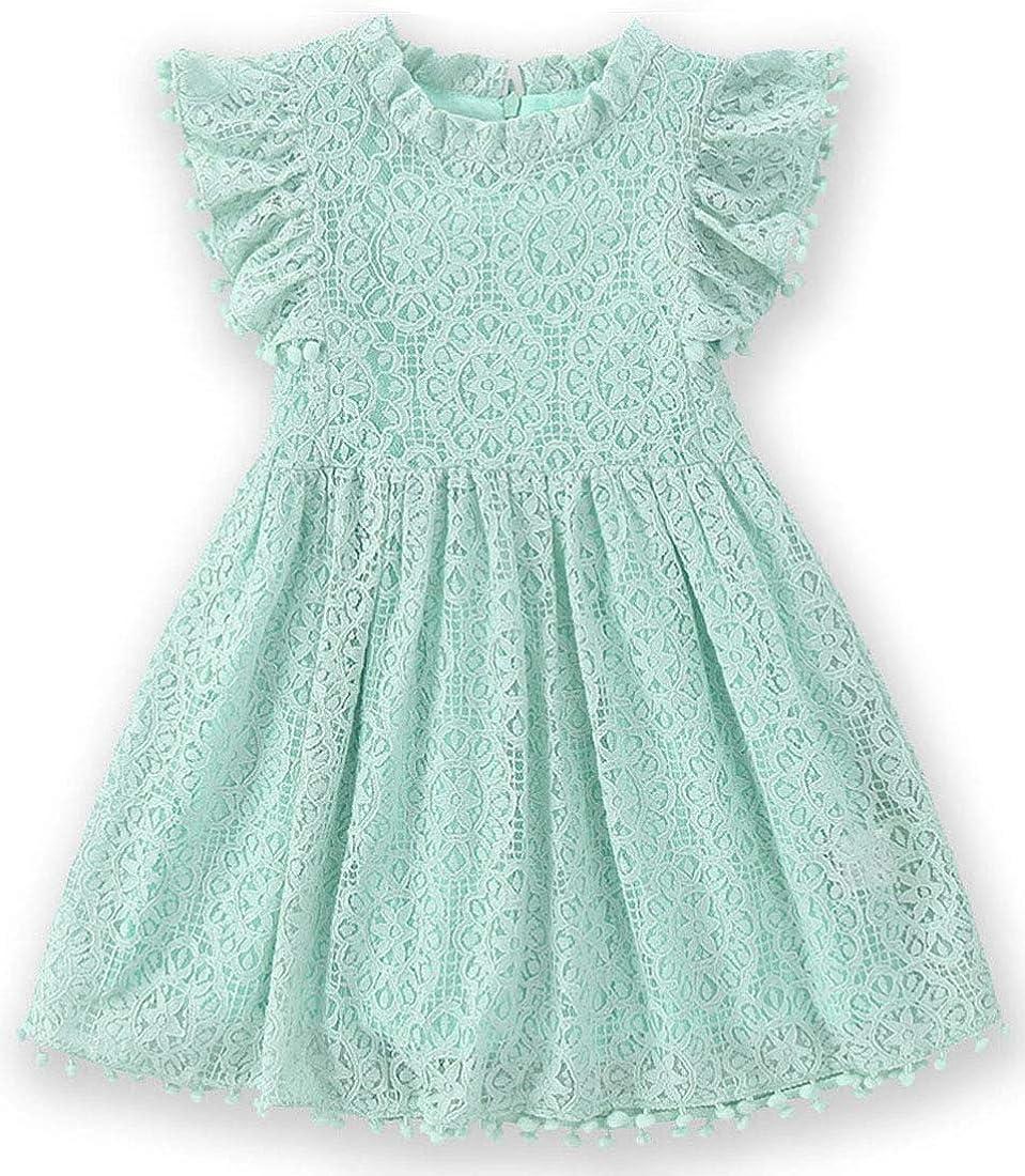 BGIRNUK Flower Girl Lace Dress 3//4 Sleeve Princess Party Dresses