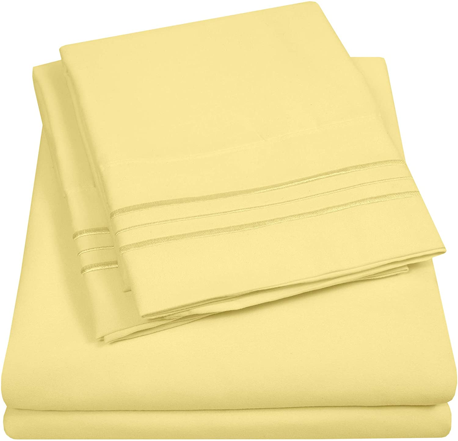 1500 Supreme Collection Extra Soft California King Sheet Set, Pale Yellow- Luxury Bed Sheet Set with Deep Pocket Wrinkle Free Hypoallergenic Bed Sheets, Cal King Size, Peach