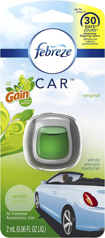 Febreze Car Vent Clip Auto, Home Office AC Air Freshener & Odor Eliminator, With Gain Original